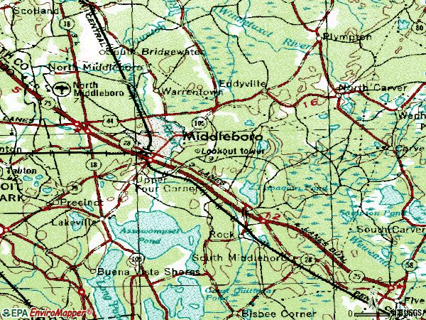 Zip code 02346 topographic map