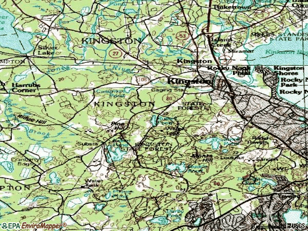 Zip code 02364 topographic map