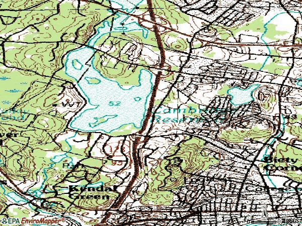 Zip code 02451 topographic map