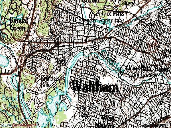 Zip code 02453 topographic map
