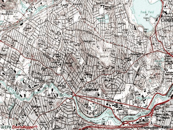 Zip code 02472 topographic map