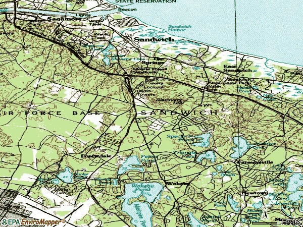 Zip code 02563 topographic map