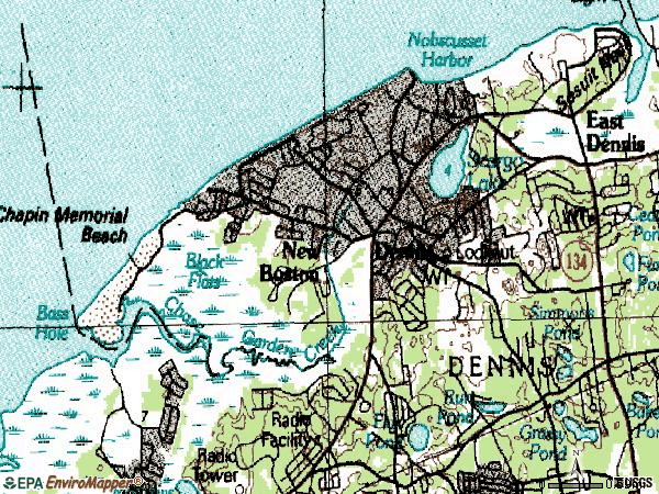 Zip code 02638 topographic map