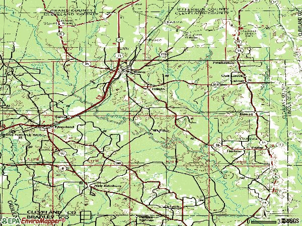 Zip code 71665 topographic map