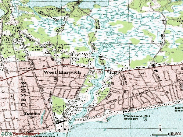 Zip code 02671 topographic map