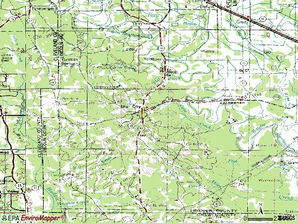 Zip code 71667 topographic map