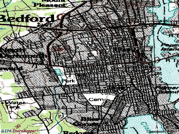 Zip code 02740 topographic map