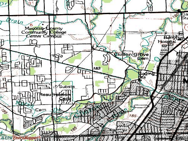 Zip code 48038 topographic map