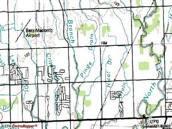 Zip code 48044 topographic map