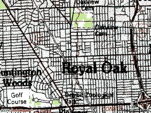 Zip code 48067 topographic map
