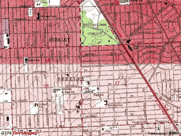 Zip code 48072 topographic map