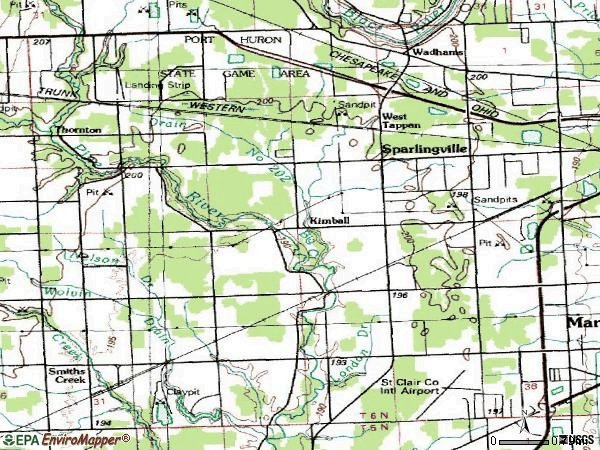 Zip code 48074 topographic map