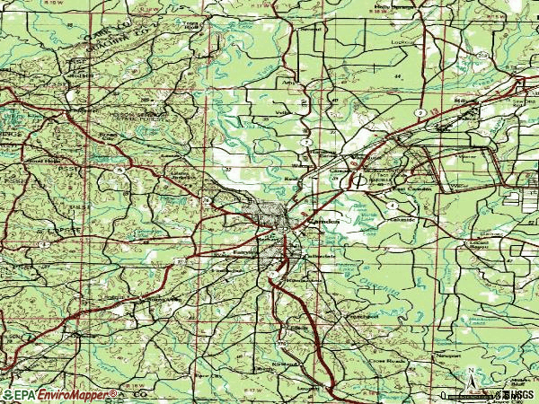 Zip code 71701 topographic map