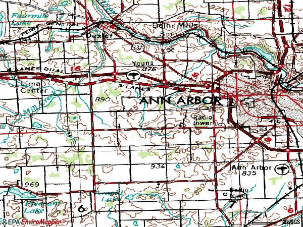 Zip code 48103 topographic map