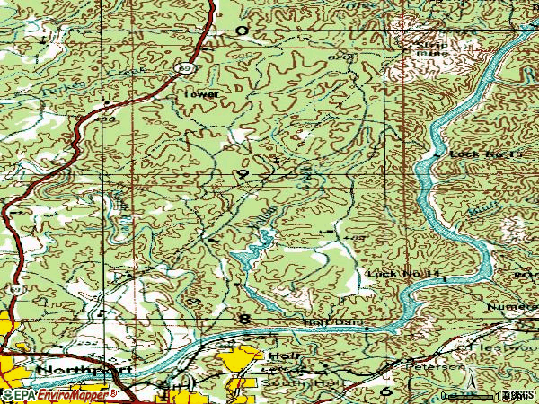 Zip code 35406 topographic map