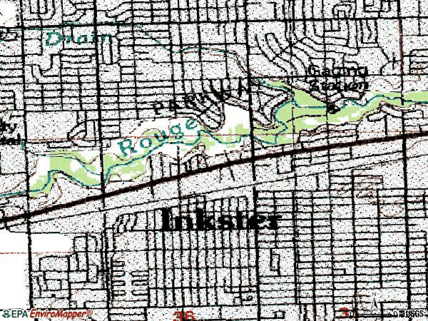 Zip code 48141 topographic map