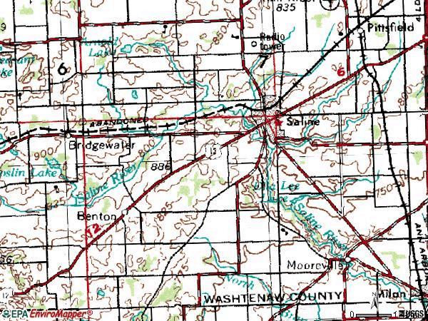 Zip code 48176 topographic map