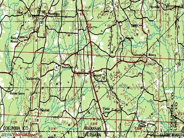 Zip code 71740 topographic map