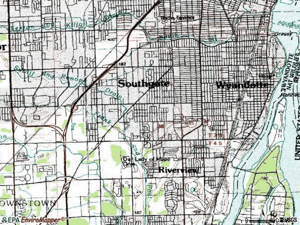 Zip code 48192 topographic map