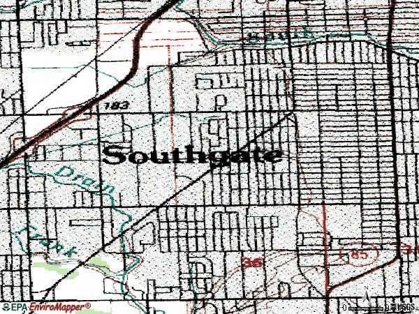 Zip code 48195 topographic map