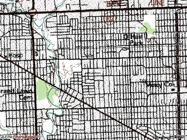 Zip code 48219 topographic map