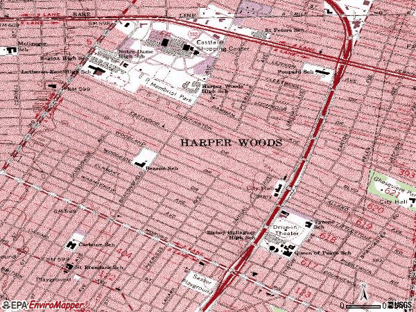 Zip code 48225 topographic map