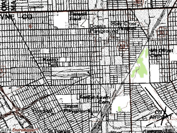 Zip code 48234 topographic map