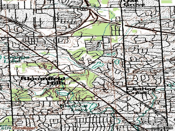 Zip code 48304 topographic map