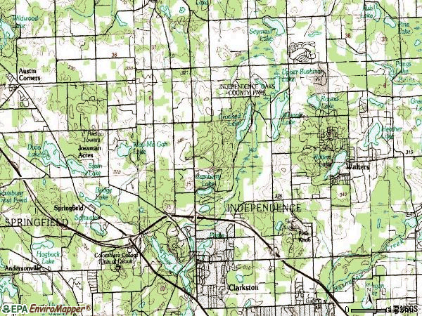 Zip code 48348 topographic map