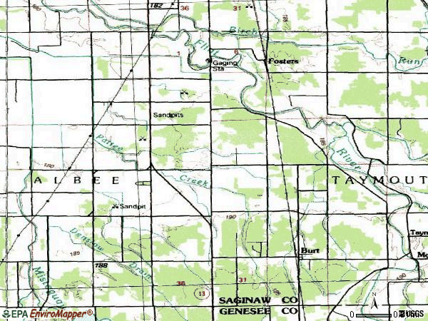Zip code 48417 topographic map