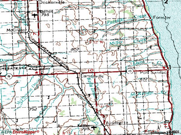 Zip code 48419 topographic map