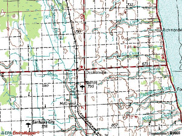 Zip code 48427 topographic map