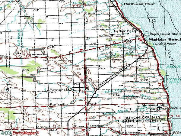Zip code 48441 topographic map
