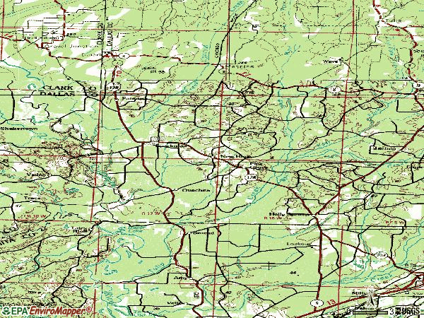 Zip code 71763 topographic map