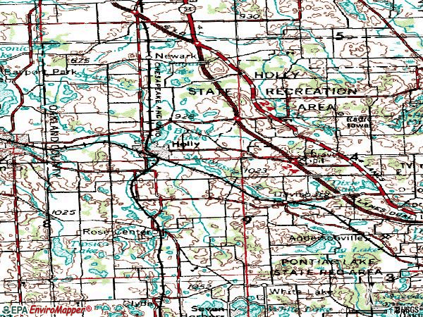 Zip code 48442 topographic map