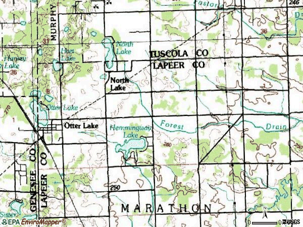 Zip code 48464 topographic map