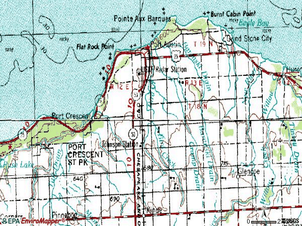 Zip code 48467 topographic map