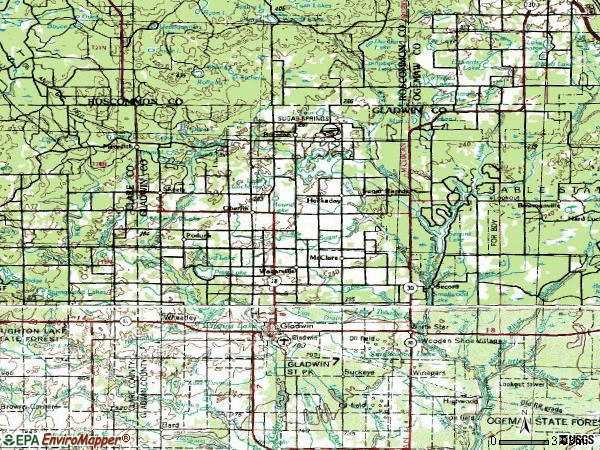 Zip code 48624 topographic map