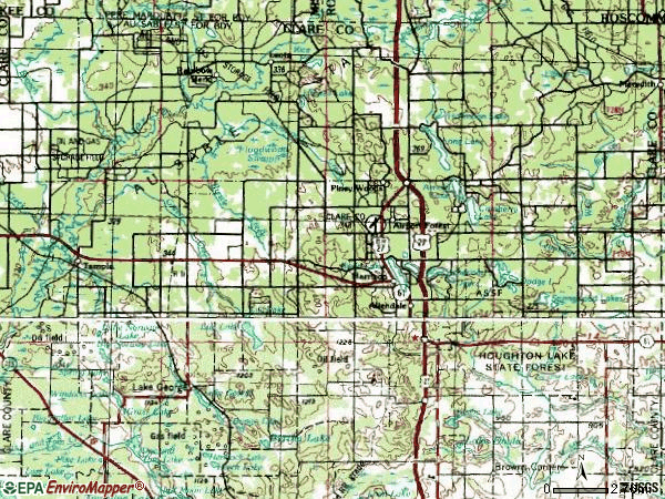 Zip code 48625 topographic map