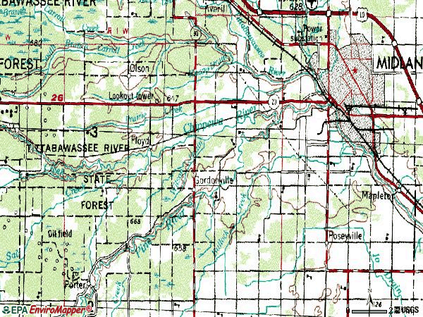 Zip code 48640 topographic map