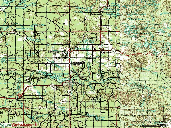 Zip code 48647 topographic map