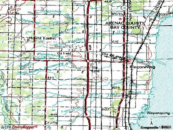 Zip code 48650 topographic map