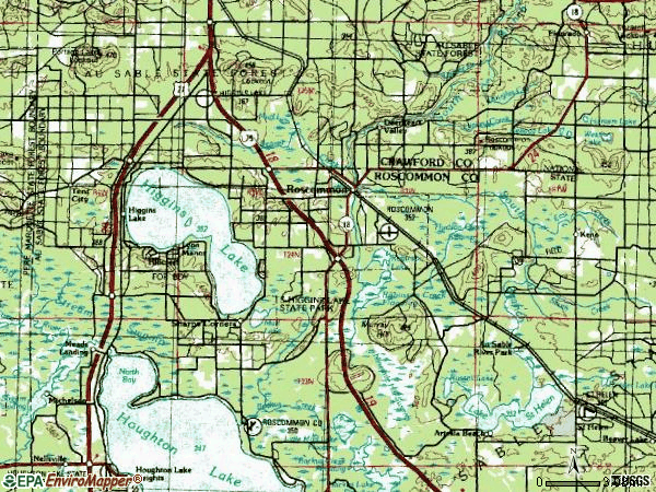Zip code 48653 topographic map