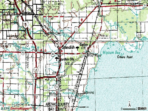 Zip code 48658 topographic map