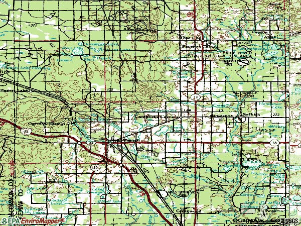 Zip code 48661 topographic map
