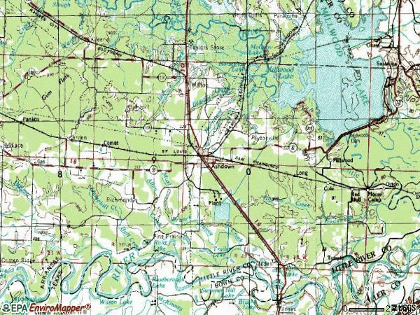 Zip code 71822 topographic map
