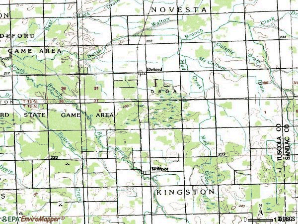 Zip code 48729 topographic map