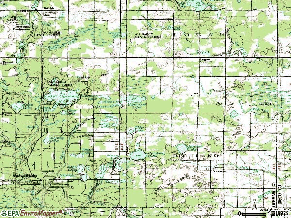 Zip code 48756 topographic map