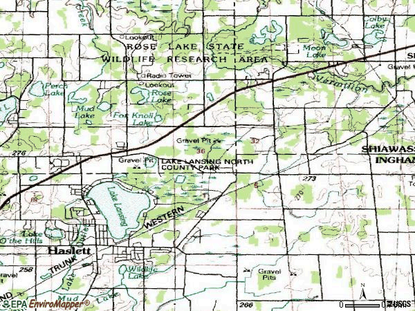 Zip code 48840 topographic map