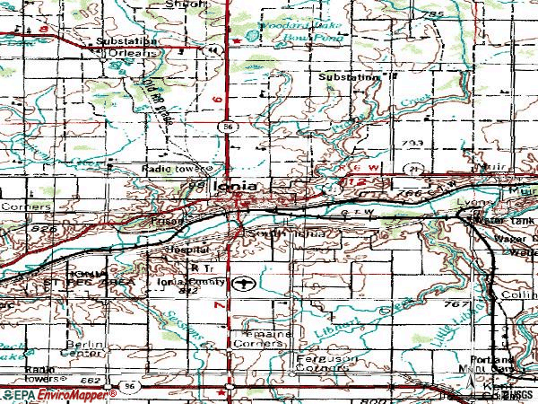 Zip code 48846 topographic map